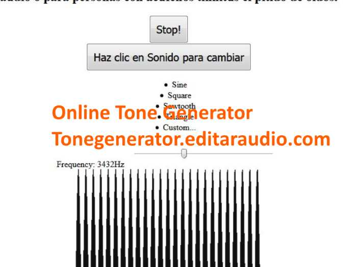Online tone generator of any frequency